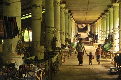 The corridor lined with vendors. Photo taken in or around In Dein, Inle Lake, Burma_myanmar by Mark Ord.