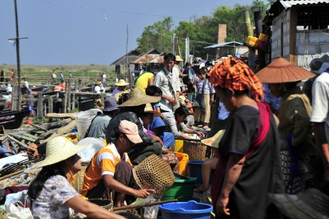 The lakeside setting of Nam Phan. Photo taken in or around Five-day markets, Inle Lake, Burma_myanmar by Mark Ord.