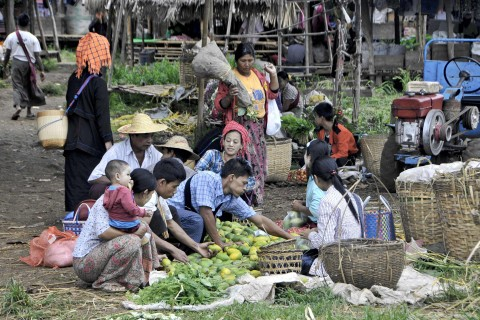 The very rustic Thaung To Market. Photo taken in or around Five-day markets, Inle Lake, Burma_myanmar by Mark Ord.