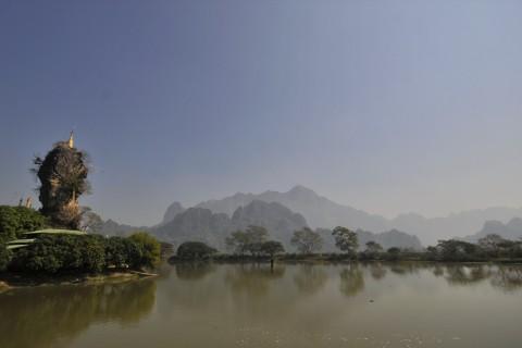 The much photographed Kyauk Kalat Pagoda. Photo taken in or around Zwegabin, Hpa-an, Burma_myanmar by Mark Ord.