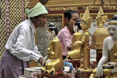 Devotees at Sutaungpyi Pagoda, a key Buddhist pilgrimage site. Photo taken in or around Mandalay Hill, Mandalay, Burma_myanmar by Mark Ord.